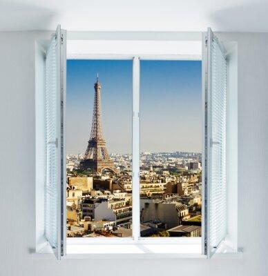 Sticker Fenster mit Eiffelturm und Dächer Ansicht