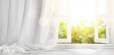 Sticker Fenster mit Vorhang