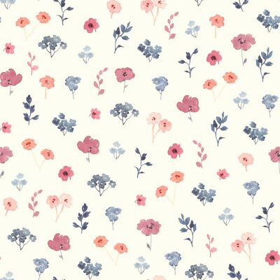 Field wildflowers, watercolor seamless floral pattern with little flowers and leaves. Nature illustration on ivory background.