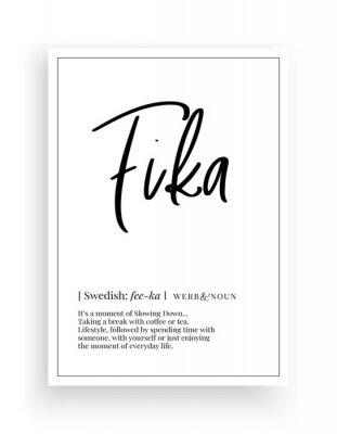 Fika definition, Minimalist Wording Design, Wall Decor, Wall Decals Vector, Fika noun description, Wordings Design, Lettering Design, Art Decor, Poster Design isolated on white background