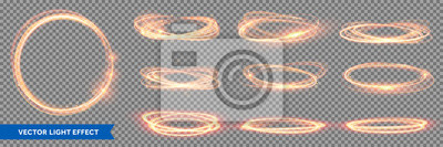 Sticker Fire light circles trails of sparkling gold glitter, vector glow flare swirls on transparent background. Abstract vector fire circles, sparkling swirls and energy light spiral frames