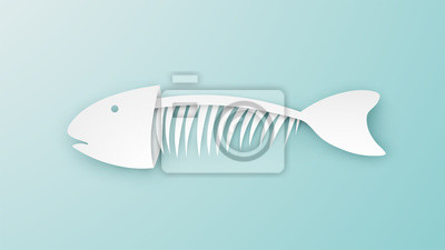 Fishbone design in paper cut style on pastel color. Mackerel Fish bone. Fish skeleton. paper cut and craft style. vector, illustration.