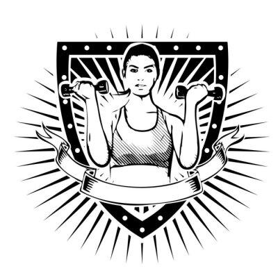 Sticker Fitness Frau Schild