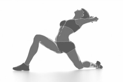 Sticker Fitness Frau Stretching auf weiß isoliert - warm up Konzept