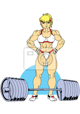 Fitness Mädchen mit einer Hantel, Illustration, Farbe, Logo, isoliert auf einem weißen