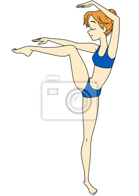 Fitness Mädchen tanzen, Illustration, Logo, Farbe, isoliert auf einem weißen