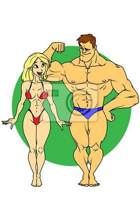 Fitness-Mädchen und ein Mann, Illustration, Farbe, Logo, auf einem weißen