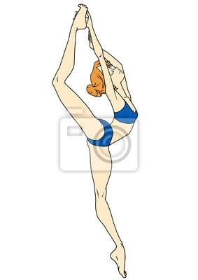 Fitness-Yoga-Mädchen, Illustration, Logo, Farbe, isoliert auf einem weißen