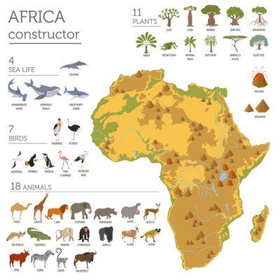 Sticker Flache Afrika Flora und Fauna Karte Konstrukteur Elemente. Tiere, b