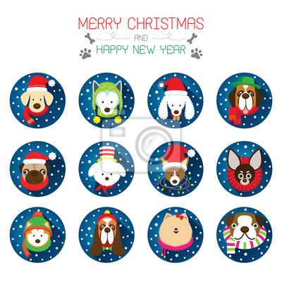 Flache Icons Set: Weihnachten, verschiedene Hunderassen