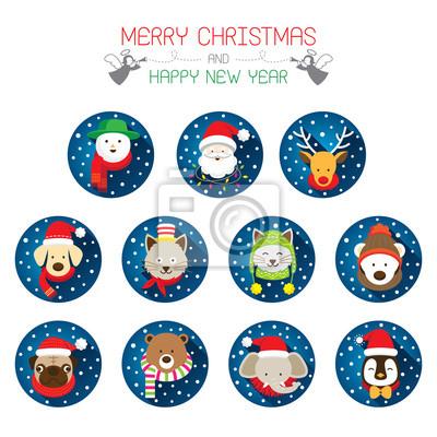 Flache Icons Set: Weihnachten, Weihnachts & Tiere