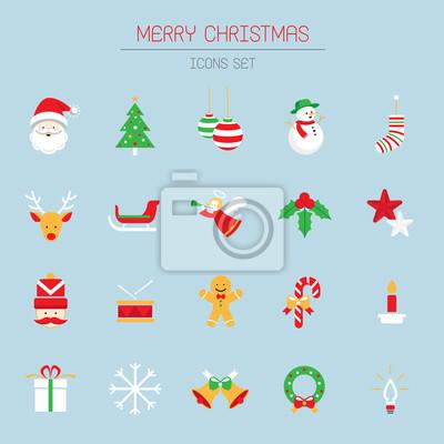 Flache Icons Set: Weihnachts Objekte