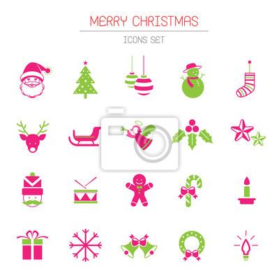 Sticker Flache Icons Set: Weihnachts Objekte