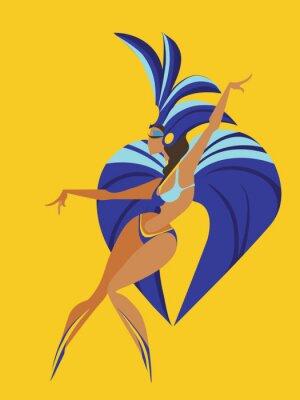 Sticker Flachen geometrischen Design der tanzenden Samba-Königin