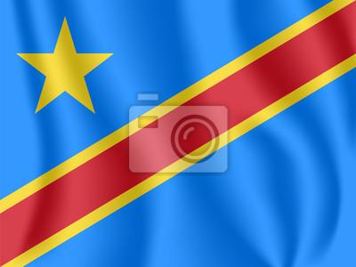 Flagge der Demokratischen Republik Kongo. Realistische wehende Flagge der DR Kongo (DRC). Stoff texturierte fließende Flagge von Kongo-Kinshasa.