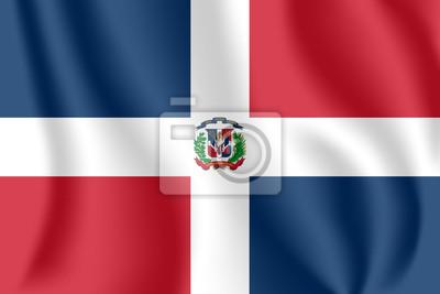 Flagge der Dominikanischen Republik. Realistische wehende Flagge der Dominikanischen Republik. Strukturierte flüssige Flagge der Dominikanischen Republik.