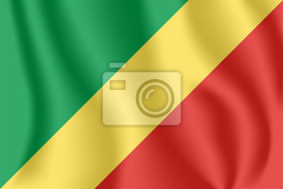Flagge der Republik Kongo. Realistische wehende Flagge von Kongo-Brazzaville. Stoff texturierte fließende Flagge der Republik Kongo.