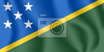 Flagge der Salomonen. Realistische wehende Flagge von Solomon Islands. Strukturierte flüssige Flagge von Solomon Islands.