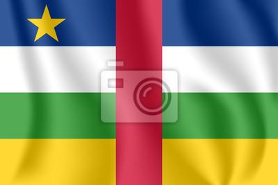 Flagge der Zentralafrikanischen Republik (CAR). Realistische wehende Flagge der Republik Zentralafrika. Strukturierte flüssige Flagge der Republik Zentralafrika.