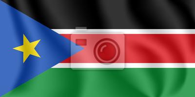 Flagge des Südsudan. Realistische wehende Flagge der Republik Südsudan. Strukturierte flüssige Flagge von Südsudan.