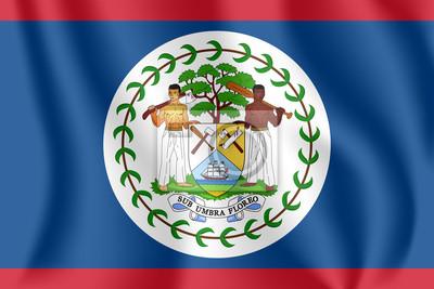 Flagge von Belize. Realistische wehende Flagge von Belize. Strukturierte flüssige Flagge von Belize.