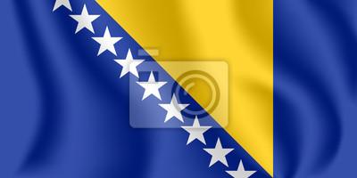Flagge von Bosnien und Herzegowina (B & H). Realistische wehende Flagge von Bosnien-Herzegowina. Strukturierte flüssige Flagge von Bosnien.