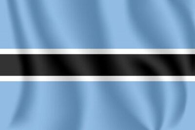 Flagge von Botswana. Realistische wehende Flagge der Republik Botswana. Strukturierte flüssige Flagge von Botswana.
