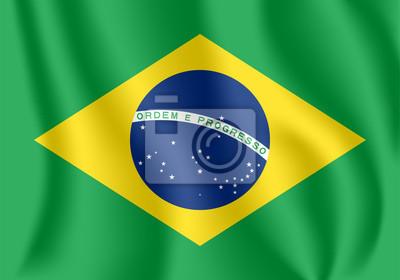 Flagge von Brasilien. Realistische wehende Flagge der Föderativen Republik Brasilien. Strukturierte flüssige Flagge von Brasilien.