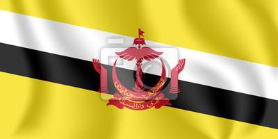 Flagge von Brunei. Realistische wehende Flagge der Nation von Brunei, der Aufenthaltsort des Friedens. Stoff texturierte fließende Flagge von Brunei.