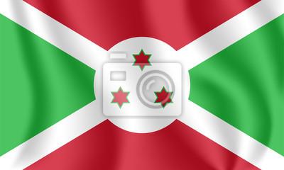 Flagge von Burundi. Realistische wehende Flagge der Republik Burundi. Stoff texturierte fließende Flagge von Burundi.