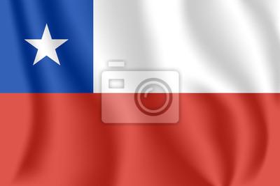 Flagge von Chile. Realistische wehende Flagge der Republik Chile. Strukturierte flüssige Flagge von Chile.
