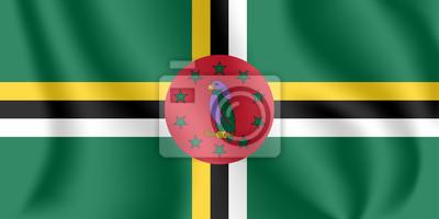 Flagge von Dominica. Realistische wehende Flagge des Commonwealth von Dominica. Stoff texturierte fließende Flagge von Dominica.