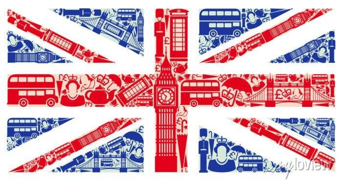 Sticker Flagge von England von Symbolen des Vereinigten Königreichs und London