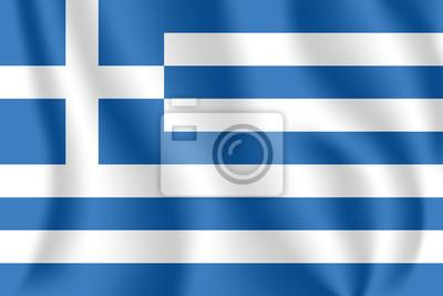 Flagge von Griechenland. Realistische wehende Flagge der Hellenischen Republik. Stoff texturierte fließende Flagge von Hellas.