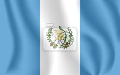Flagge von Guatemala. Realistische wehende Flagge der Republik Guatemala. Strukturierte flüssige Flagge von Guatemala.