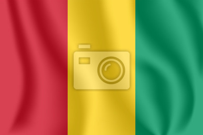 Flagge von Guinea. Realistische wehende Flagge der Republik Guinea. Strukturierte flüssige Flagge von Guinea-Conakry.