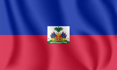 Flagge von Haiti. Realistische wehende Flagge der Republik Haiti. Stoff texturierte fließende Flagge von Hayti.