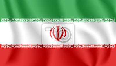 Flagge von Iran. Realistische wehende Flagge der islamischen Republik Iran. Stoff texturierte fließende Flagge von Persien.