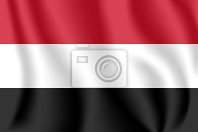 Flagge von Jemen. Realistische wehende Flagge der Republik Jemen. Stoff texturierte fließende Flagge des Jemen.
