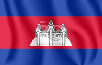 Flagge von Kambodscha. Realistische wehende Flagge des Königreichs von Kambodscha. Stoff texturierte fließende Flagge von Kampuchea.