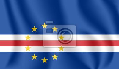 Flagge von Kap Verde. Realistische wehende Flagge der Republik Cabo Verde. Strukturierte flüssige Flagge von Cabo Verde.