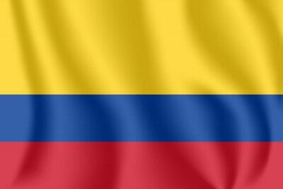Flagge von Kolumbien. Realistische wehende Flagge der Republik Kolumbien. Strukturierte flüssige Flagge des Gewebes von Kolumbien.