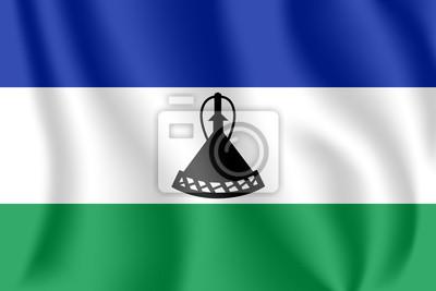 Flagge von Lesotho. Realistische wehende Flagge des Königreichs Lesotho. Stoff texturierte fließende Flagge von Lesotho.
