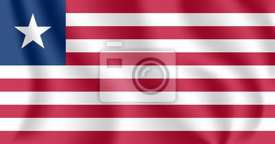 Flagge von Liberia. Realistische wehende Flagge der Republik Liberia. Strukturierte flüssige Flagge von Gewebe von Liberia.
