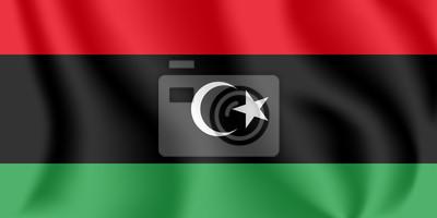 Flagge von Libyen. Realistische wehende Flagge des Staates Libyen. Strukturierte flüssige Flagge von Libyen.