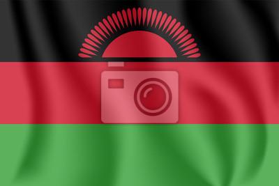 """Flagge von Malawi. Realistische wehende Flagge der Republik Malawi. Stoff texturierte fließende Flagge von """"Das warme Herz Afrikas""""."""