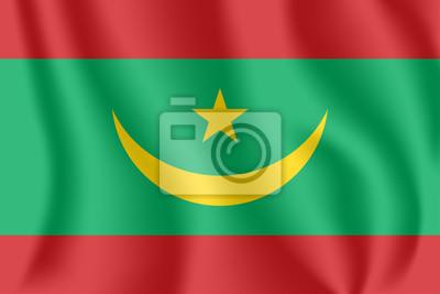 Flagge von Mauretanien. Realistische wehende Flagge der islamischen Republik Mauretanien. Strukturierte flüssige Flagge von Mauretanien.