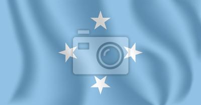 Flagge von Mikronesien. Realistische wehende Flagge der Föderierten Staaten von Mikronesien (FSM). Stoff texturierte fließende Flagge der Vereinigten Staaten von Mikronesien.