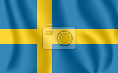 Flagge von Schweden. Realistische wehende Flagge des Königreichs Schweden. Strukturierte flüssige Flagge von Gewebe von Schweden.