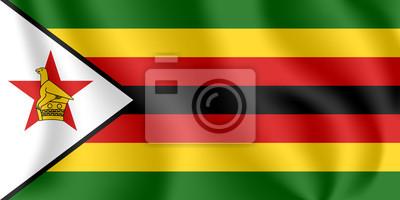 Flagge von Simbabwe. Realistische wehende Flagge der Republik Simbabwe. Stoff texturierte fließende Flagge von Simbabwe.
